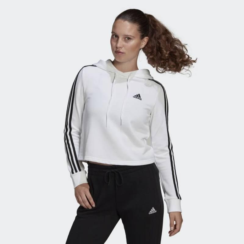 Adidas Essentials 3-Stripes Cropped Hoodie