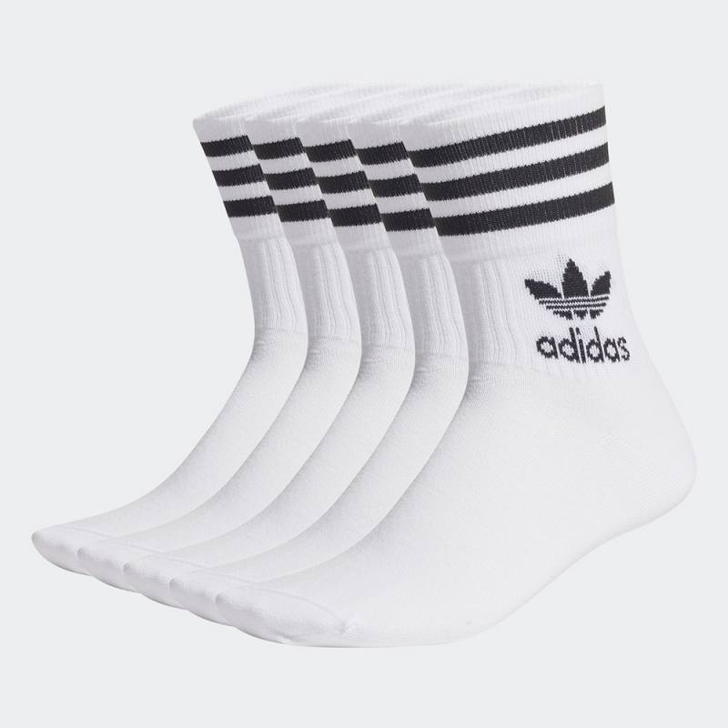 Adidas Solid Mid Cut Socks 5 Pairs