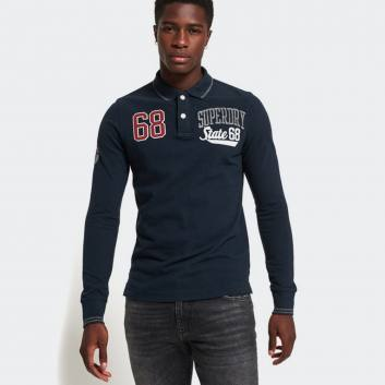 SUPERDRY D3 CLASSIC SUPERSTATE L/S POLO NAVY BLUE