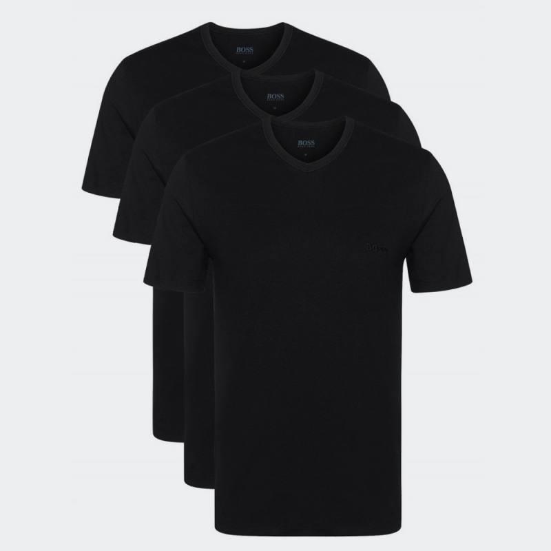 HUGO BOSS V-NECK 3 PACK T-SHIRT REGULAR FIT BLACK