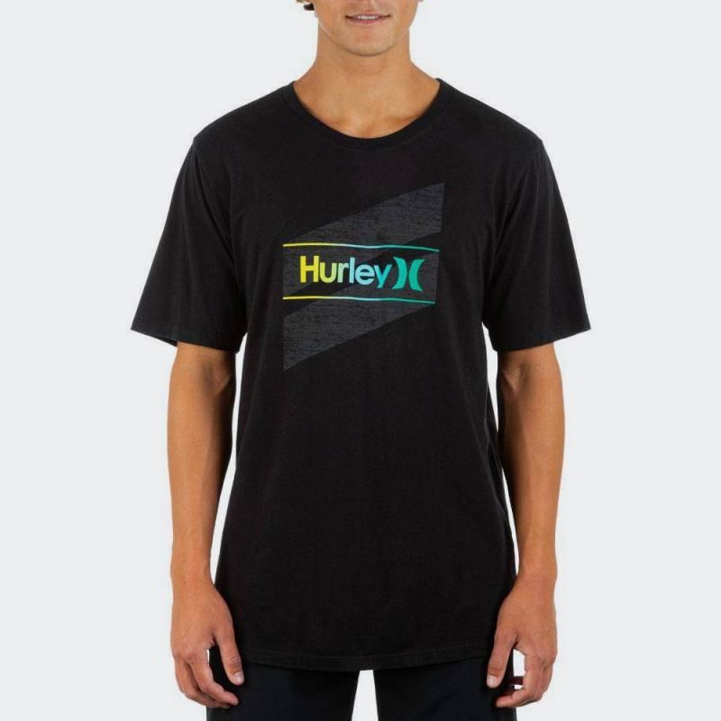 HURLEY M EVD WSH OAO SLASHED SS  T-SHIRT - BLACK